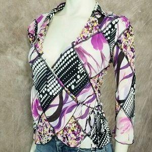 Diane von Furstenberg DVF Silk Wrap Blouse Top
